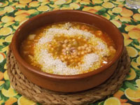 caldo, arroz y garbanzos